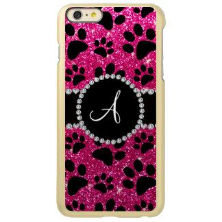 Monogram neon hot pink glitter dog paws incipio feather shine iPhone 6 plus case