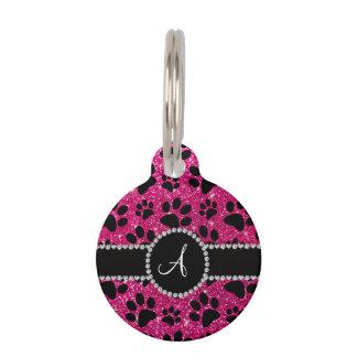 Monogram neon hot pink glitter dog paws pet tag