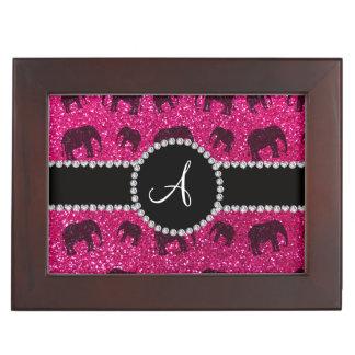 Monogram neon hot pink glitter elephants keepsake box