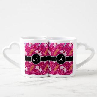 Monogram neon hot pink glitter nurse hats heart couples' coffee mug set