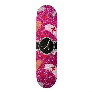 Monogram neon hot pink glitter nurse hats heart skate board deck
