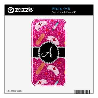 Monogram neon hot pink glitter nurse hats heart iPhone 4S skin