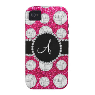 Monogram neon hot pink glitter volleyballs iPhone 4 covers