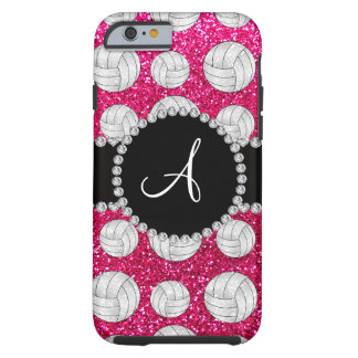 Monogram neon hot pink glitter volleyballs tough iPhone 6 case