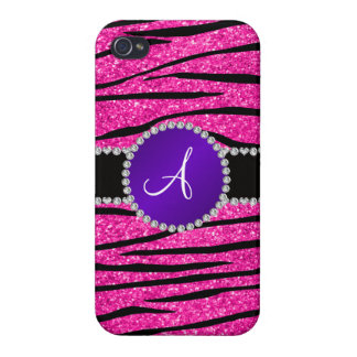 Monogram neon hot pink glitter zebra purple circle cover for iPhone 4