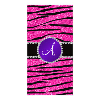 Monogram neon hot pink glitter zebra purple circle photo cards