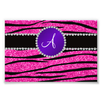 Monogram neon hot pink glitter zebra purple circle photo print