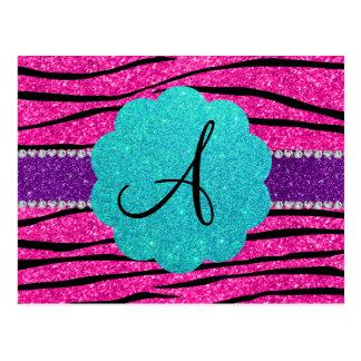 Monogram neon hot pink glitter zebra scallop post card