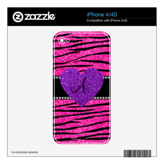 Monogram neon hot pink glitter zebra stripes pink decals for the iPhone 4