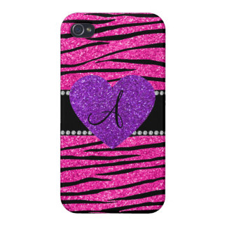 Monogram neon hot pink glitter zebra stripes pink iPhone 4/4S case