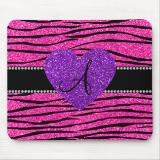 Monogram neon hot pink glitter zebra stripes pink mouse pads