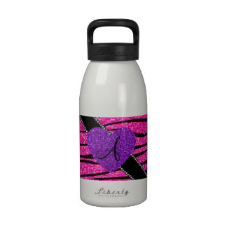 Monogram neon hot pink glitter zebra stripes pink drinking bottles