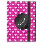 Monogram neon hot pink hearts polka dots iPad cover