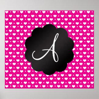 Monogram neon hot pink hearts polka dots print