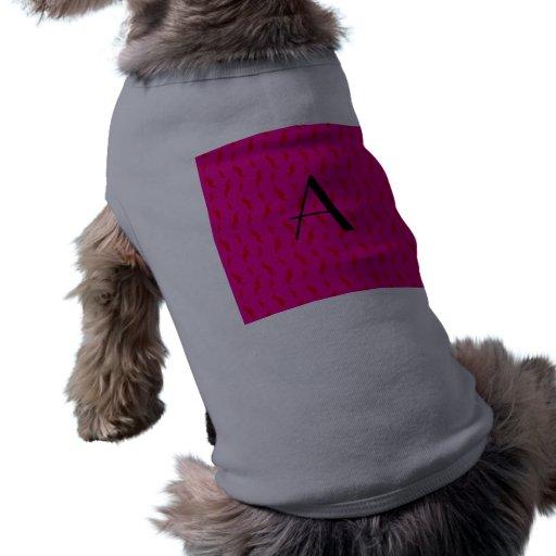 Monogram neon hot pink mustache pattern doggie tee shirt