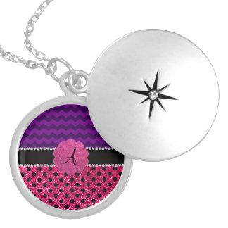 Monogram neon hot pink polka dots purple chevrons round locket necklace