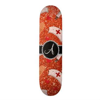 Monogram neon orange glitter nurse hats heart skate board decks