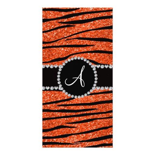 Monogram neon orange glitter zebra stripes circle picture card