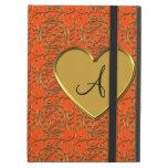 Monogram neon orange gold moroccan damask iPad folio case