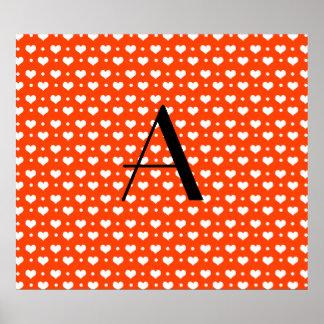 Monogram neon orange hearts polka dots poster
