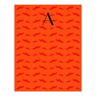"""Monogram neon orange mustache pattern 8.5"""" x 11"""" flyer"""