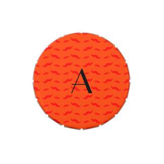 Monogram neon orange mustache pattern candy tin