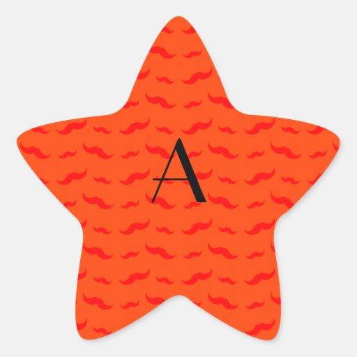 Monogram neon orange mustache pattern star sticker
