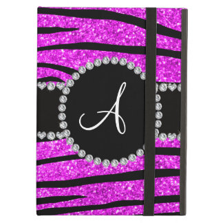 Monogram neon pink glitter zebra stripes circle cover for iPad air