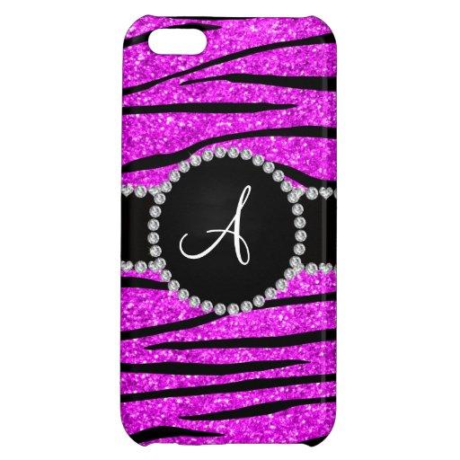 Monogram neon pink glitter zebra stripes circle cover for iPhone 5C