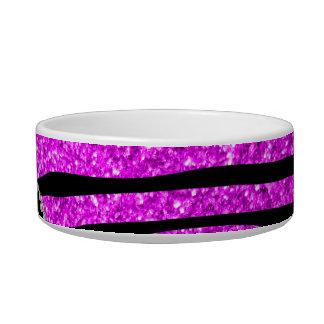 Monogram neon pink glitter zebra stripes circle pet food bowls