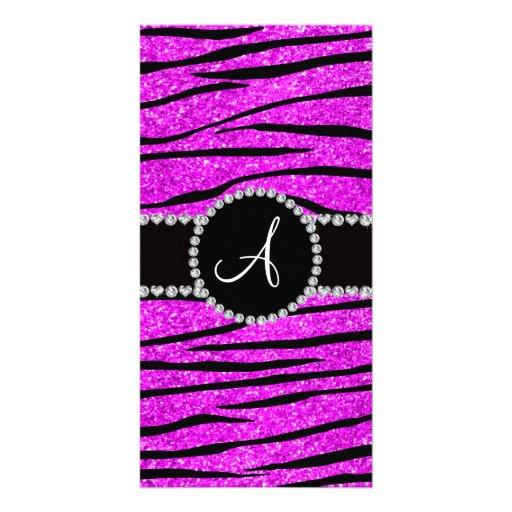 Monogram neon pink glitter zebra stripes circle photo greeting card