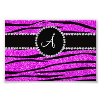 Monogram neon pink glitter zebra stripes circle photo art