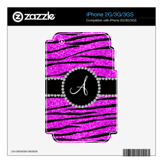 Monogram neon pink glitter zebra stripes circle iPhone 3G decal