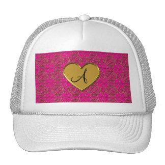 Monogram neon pink gold moroccan damask trucker hats