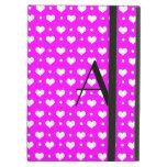 Monogram neon pink hearts polka dots iPad cover