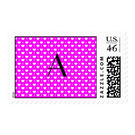 Monogram neon pink hearts polka dots stamps