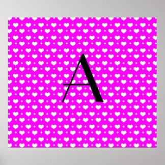 Monogram neon pink hearts polka dots posters