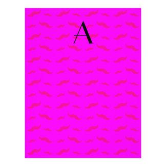 """Monogram neon pink mustache pattern 8.5"""" x 11"""" flyer"""