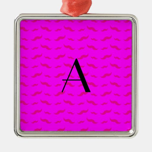 Monogram neon pink mustache pattern christmas tree ornament