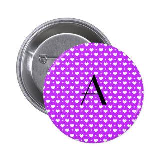 Monogram neon purple hearts polka dots buttons