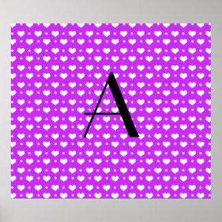 Monogram neon purple hearts polka dots print