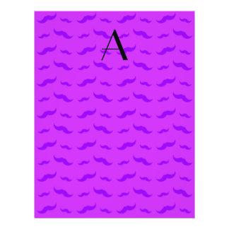 "Monogram neon purple mustache pattern 8.5"" x 11"" flyer"