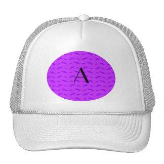 Monogram neon purple mustache pattern trucker hat