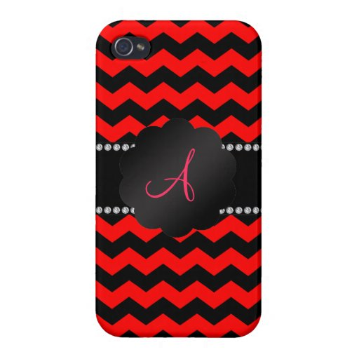 Monogram neon red and black chevrons iPhone 4 covers