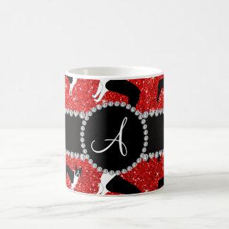 Monogram neon red glitter boston terriers classic white coffee mug