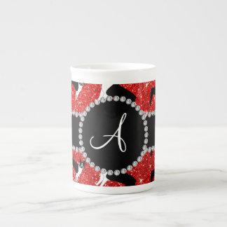 Monogram neon red glitter boston terriers tea cup