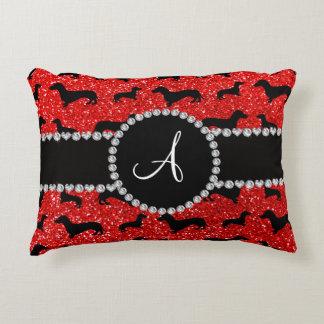 Monogram neon red glitter dachshund accent pillow