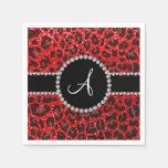 Monogram neon red glitter leopard napkin