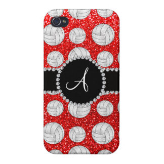 Monogram neon red glitter volleyballs iPhone 4/4S covers