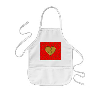 Monogram neon red gold anchors heart apron